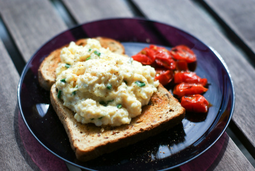 1796foods:  816. Scrambled Eggs with Chevre and Chives I'm always up for trying new breakfast and brunch recipes, especially things that are really tasty but that I can easily whip up in the morning without having to spend an hour slaving over the stove. This is just a spin on classic scrambled eggs; pepping them up with the addition of creamy goats cheese and chives. I love scrambled eggs anyway, the added cheese and herbs were lovely, and the whole thing was ready in about 10 minutes, so it pretty much fulfilled everything I want from a breakfast. I served mine with some nice granary toast and roasted tomatoes and it was super yummy. Will make again. 816 down, 980 to go
