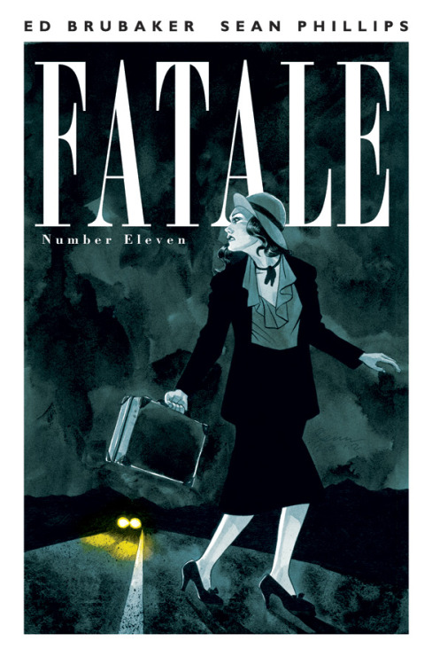 Fatale #11 Story by: Ed Brubaker Art By: Sean Phillips & Dave Stewart Cover By: Sean Phillips Price:$3.50 On Sale:December 19, 2012 The first of four standalone FATALE FLASHBACK issues, and a perfect place for new readers to jump on board. Welcome to 1930s California, a hard place to be for a girl on the run.  Witness Josephine's early days with the Femme Fatale curse, and see some of her elusive secrets revealed.  And remember each issue of FATALE contains extra content, articles and artwork that are not available anywhere but the printed single issues.