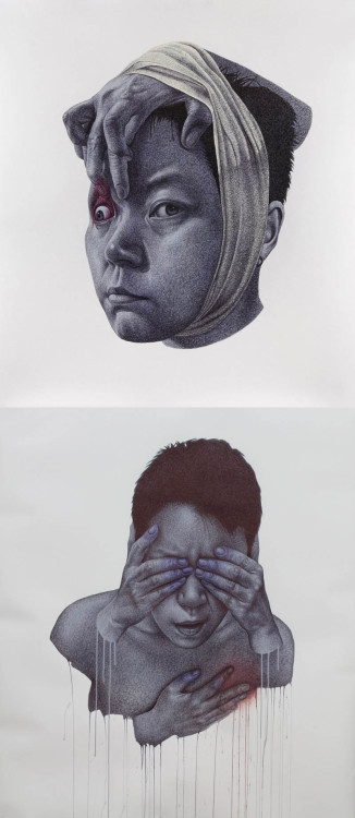 2headedsnake:  Korean artist Spunky Zoe (Seungyea Park) creates her surreal large-scale portraits using only ball point pen and acrylic paint.