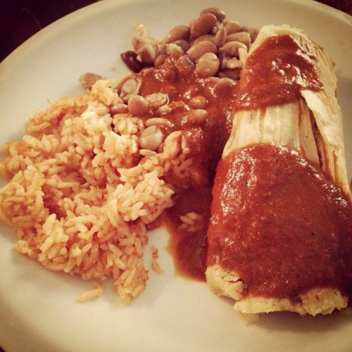 Vegan tamales from Cinnamon and tap beer at @trishells' house. I'm moving in. (Taken with Instagram)