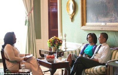 Oprah Winfrey at the White House with presidential candidate President Barack Obama+ his wife Michelle Obama the interview, which is included in the November issue of O, The Oprah Magazine