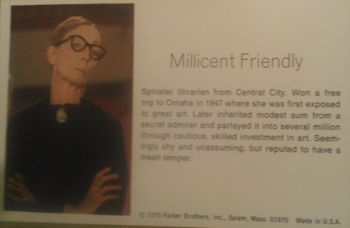 wwnorton:  Millicent Friendly, the librarian from the board game Masterpiece, circa 1970  GPOY.