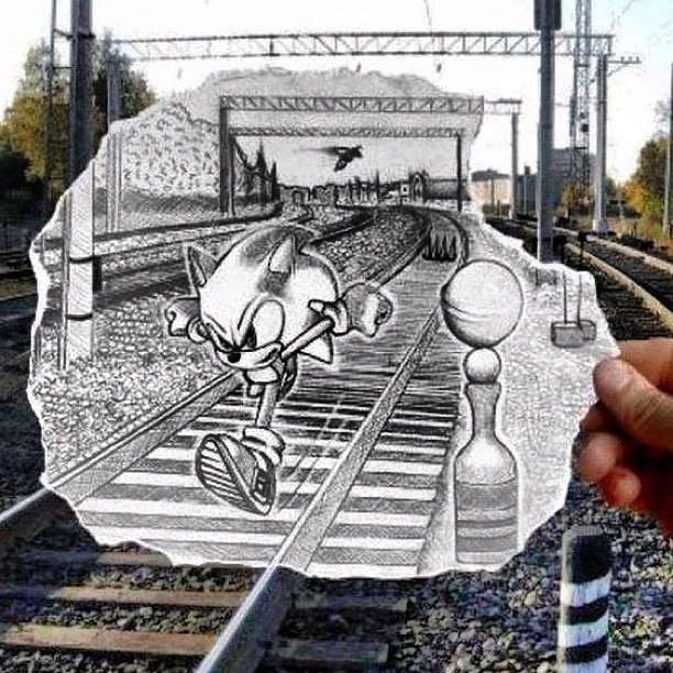 #love the #creativity - #<3 #gaming #sonic #sega #train #railroad #drawing #sketch #art #blackandwhite #cool  (Taken with Instagram)