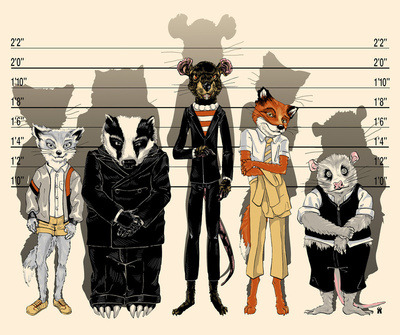 unusual suspects by castlepöp/society6 i loooved fantastic mr fox…