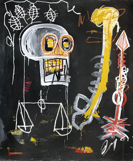 Painting Title: Untitled 1982 Artist: Jean Michel Basquiat Painting shows four leaves, a skull, a bone, an arrow, and a set of weighing scales. Sir Jack's: Gentlemen's Outfitters