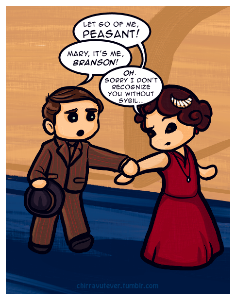 "chirravutever:  Downton Abbey - ""Tom Who? Oh, Branson."" based on some tags I saw on a screencap of a tiiiiiny scene from a new trailer. :P edit: better late than never - I found the source! :D"