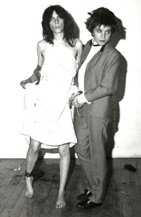 thenoiseinme:  Patti Smith and Lizzy Mercier Descloux as Arthur Rimbaud and his sister, Isabelle Rimbaud. Photographed in 1977 by Michel Esteban.