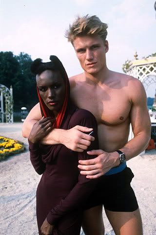 heragain:  Grace Jones and Dolph Lundgren, ca. early '80s.   l.o.v.e.