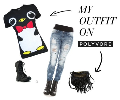 My Outfit on POLYVORE!! by kierseygirls featuring destroyed jeansloungefly , $30 / Destroyed jeans / Lace up boots / Cleobella leather handbag