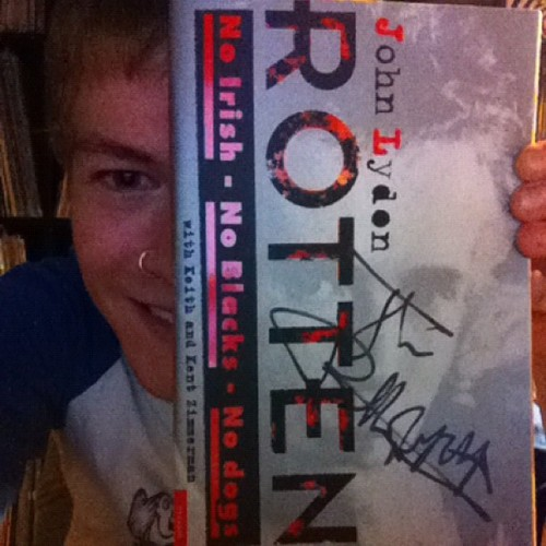 Guess who got his book signed tonight at the #PiL gig? (Taken with Instagram)
