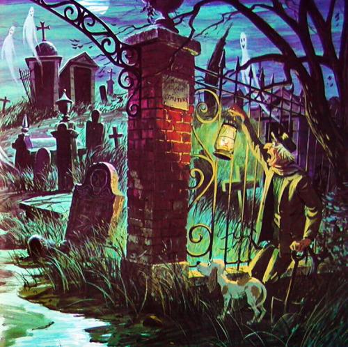 """The Story and Song from the Haunted Mansion"" LP Illustration by Collin Campbell c. 1969"