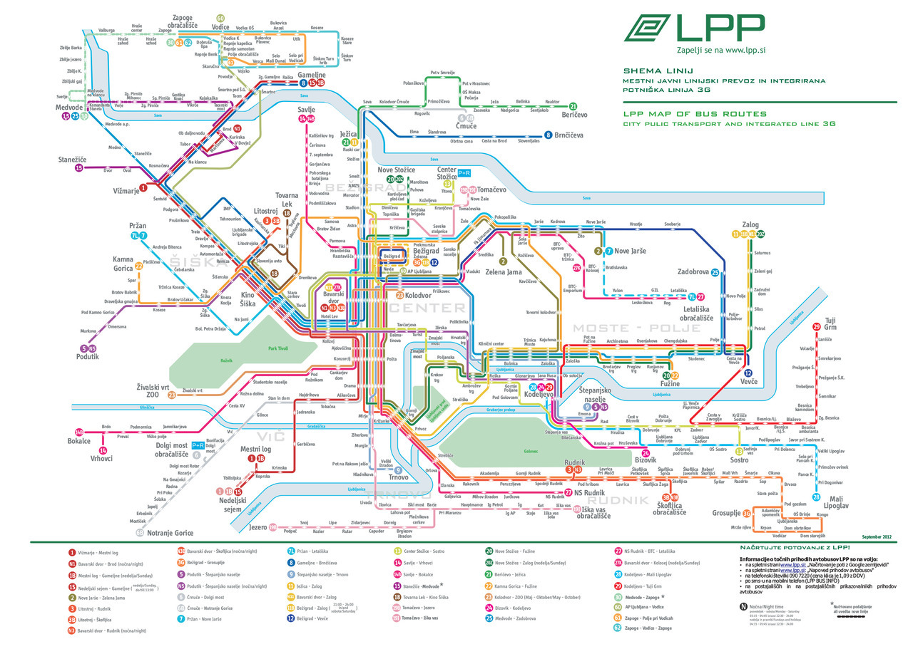 "Official Map: LPP Bus Network, Ljubljana, Slovenia Here's an interesting diagrammatic bus-only map from Ljubljana, the capital and largest city of Slovenia in Central Europe. Completely diagrammatic bus maps are a fairly rare breed, as users often want to be able to see exactly where the routes go along roads. Because of this, geographical maps and slightly simplified geographical maps tend to be the most popular forms of bus map. In this case, the small number of routes, the small size of Ljubljana itself and the defining geography of the rivers through the city help this map work relatively well. Have we been there? No. What we like: Very abstract route map for a bus-only network: for the most part it works well, mainly because of the way that the two rivers (the Sava to the north, and the Ljubljanica to the south) help to define the extent of the city.Routes are fairly easy to follow, with termini being called out well. Unusually but effectively, weekday, weekend and night services are all featured on the one map, with colour-coding and route numbering grouping the similar routes together. Nice typography for the station labels - Erik Spiekermann's FF Info Display type family is used effectively here, although we'll get to less successful typography in the next section… The combined bus stop/direction of travel icon is something I haven't seen used a lot, and it actually works fairly well, albeit less so where the route line is dashed when everything gets a little busy. What we don't like: While FF Info Display is a very nicely-chosen typeface, that can't be said about some other choices. The stolid, angular Bank Gothic used to denote parts of the city is totally at odds with the soft, humanist touches of FF Info, especially in the map title to the top right of the map (where there's also a typo in the word ""public"", although fortunately not the Really Bad One). Even worse is the obvious later addition of text at the bottom right, set in Microsoft Tahoma! Quite clearly, changes were made to the map by people without access to the original fonts and the map suffers greatly because of it. The light blue fill of the Sava River to the north has been accidentally moved to the left relative to its dark blue outline, giving the effect of a thick border on one side and a thin/non-existent border on the other. Our rating: A solid, if not spectacular, diagrammatic bus route map, let down by some poor typographical choices and some lazy revisions. Two-and-a-half stars.  (Source: Official LPP website - PDF)"