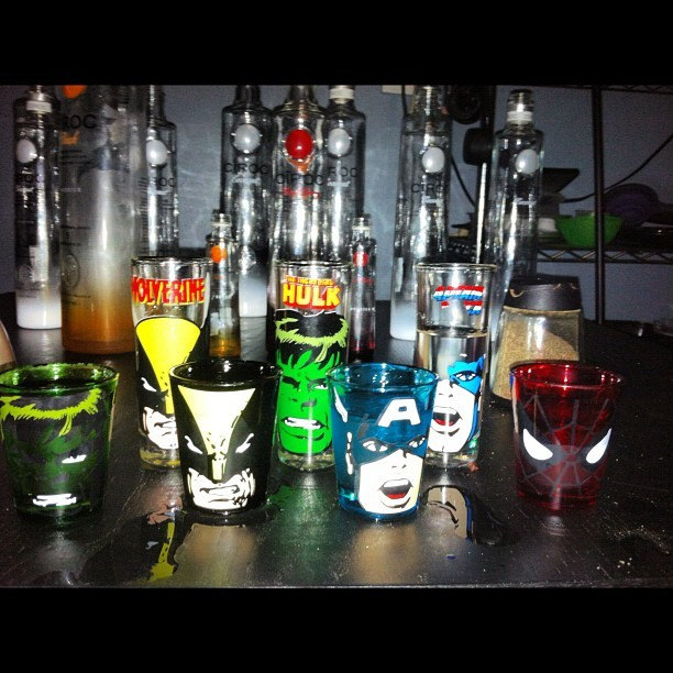 Celebrating good times! #shots #vodka #pdiddy #cirocboys #avengers (Taken with Instagram)