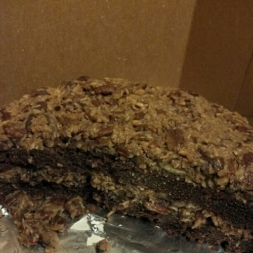 What's left of the awesome #vegan gluten-free German chocolate cake we had made from Tabor Moutain Bakehouse…sooo hard to cook a balanced meal with this tasty beast in the kitchen! (Taken with Instagram)