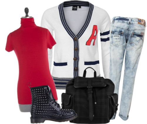 School Spirit by decomposer featuring burberry bagsStriped top / Bootcut jeans, $65 / Short-sleeves turtleneck / Dr. Martens  boots / Burberry  bag, $965