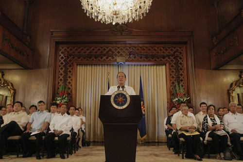 President Benigno S. Aquino III delivering his remarks on the Framework Agreement with the MILF at the Palace Reception Hall, Sunday, October 7.Read the full transcript and english translation of the President's speech here: http://www.gov.ph/2012/10/07/speech-of-president-aquino-on-the-framework-agreement-with-the-milf-october-7-2012/ Click image for more photos. (Photo by Malacañang Photo Bureau)