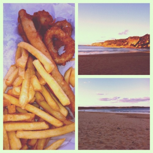 Fish and chips, beach, great way to start daylight saving! #tathra (Taken with Instagram)