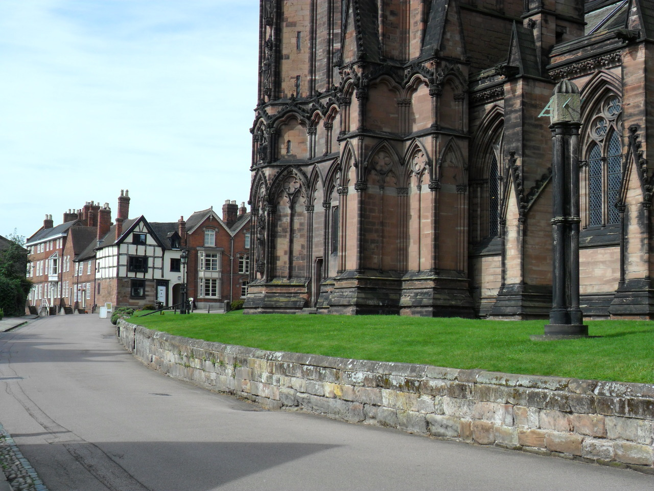 Lichfield Cathedral looking toward Erasmus Darwin's house, note the Sundial clock.