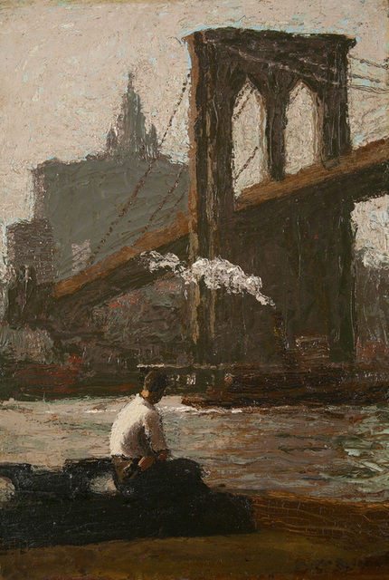 poboh:  The Bridge Pier, Robert Knight Ryland. American (1873 - 1951)   I love this painting of the Brooklyn Bridge. I spent my college years and early professional life in lower manhattan. The Brooklyn Bridge is one of those visual centers of gravity that ground me when I'm in the neighborhood.