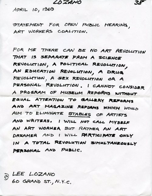 grupaok: Lee Lozano, Statement for an Open Public Hearing, Art Workers' Coalition, 1969