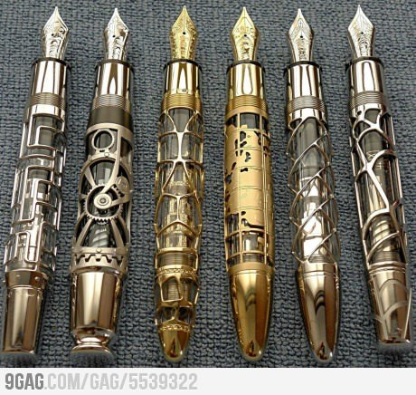 9gag:  Steampunk Pens  omg. i want this. because of reasons
