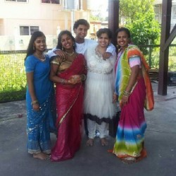 The four of us with our mommy @mmaywalall @truebeliever2000 #desi #desifashion #guyana #jhandi and ppl think they have it hard try having 3 sisters lolz! (Taken with Instagram at Guyana)