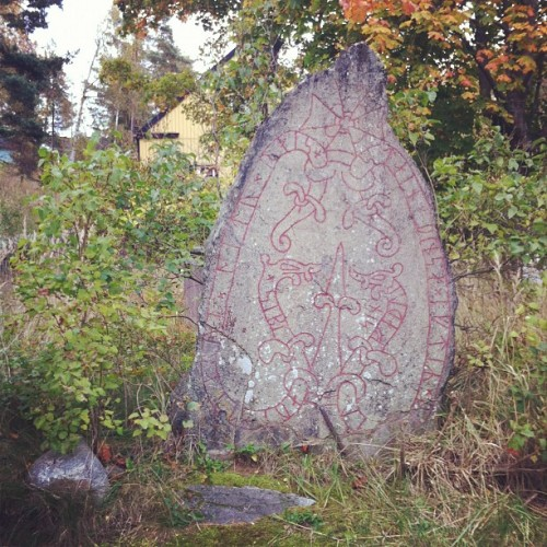changeyourfaceorchangeyourname:  this real viking rune stone was just on the roadside about 3 minutes drive from my house with a little sign next to it saying what was written on it, i think it was a memorial for someones dad but the language was really old so it was hard to tell.