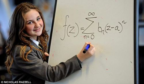 neurosciencestuff: A 12-year-old schoolgirl has been accepted into Mensa after discovering she is brainier than both Albert Einstein and Stephen Hawking. Olivia Manning, from Liverpool, managed to get a whopping score in an IQ test of 162 - well above the 100 average. Her score is not only two points better than genius German physicist Einstein and Professor Stephen Hawking, but puts her in the top one per cent of intelligent people in the world. ——- This is really amazing, click the icon with a link below to read the full story!