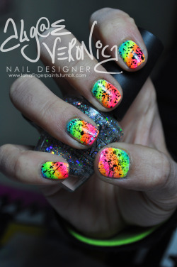 lotsafingerpaints:  Black Splatter over rainbow fade