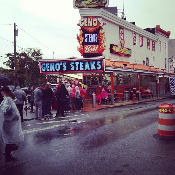 #the3day is taking us they South Philly. Some walkers stopped at Pat's or Geno's for cheesesteaks. (Taken with Instagram)