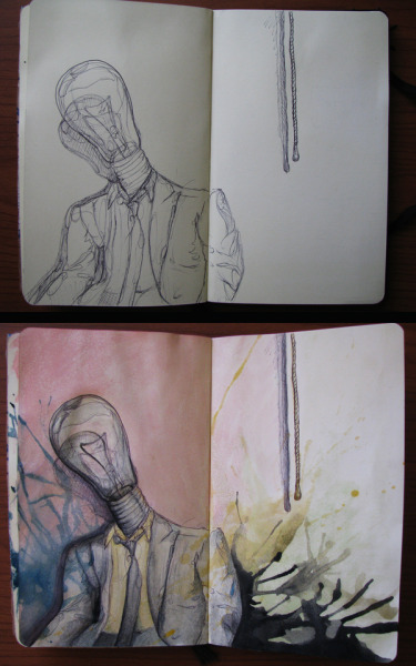Before and after of Lightbulb Man by Kyle Saxton  http://alexandkyle.tumblr.com
