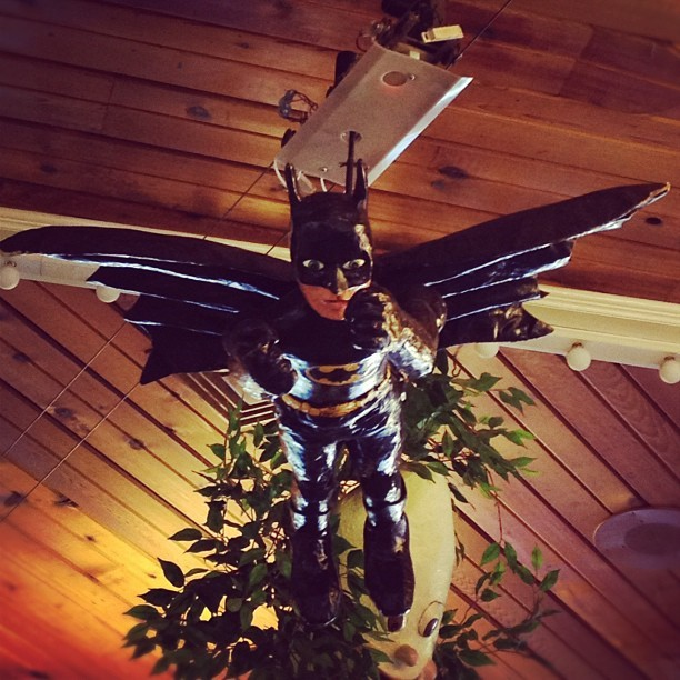 Whoosh, vintage flying Batman #madison  (Taken with Instagram at Ella's Deli and Ice Cream Parlor)