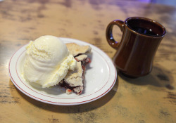 Cherry Pie with Vanilla Ice Cream and Coffee