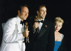 68th Academy AwardsMarch 25, 1996 Kevin Spacey, Best Supporting Actor for The Usual Suspects poses with Nicolas Cage, Best Actor for Leaving Las Vegas and his wife, Patricia Arquette.