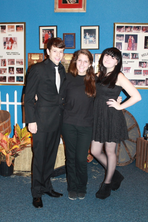 Me aka Stage Manager (in the black dress) and my Sound Head and Assistant Director for our school's fall show, Of Mice and Men. This is why I haven't been on lately, I've been super busy with this show. We opened on Thursday and has a show last night and my life is crazy as hell right now.