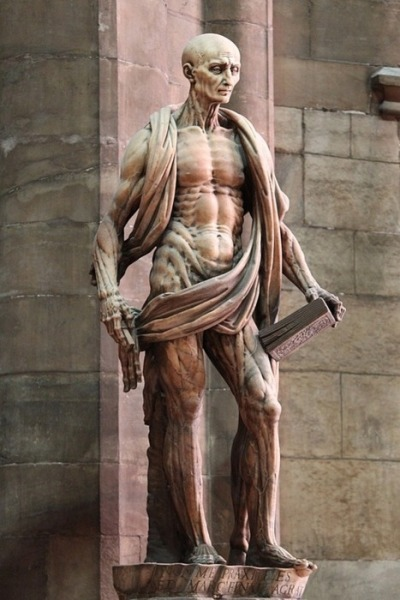 notintohumans:  St Bartholomew, an early Christian martyr who was skinned. If you look closely, you'll notice that's not a robe, but actually his removed skin hanging around him. by Marco d'Agrate, 1562 (Duomo cathedral, Milan-Italy)
