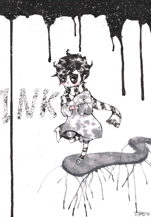 This is Ink. The main character of Miyuli's new webcomic 'Lost Nightmare' which launched today!