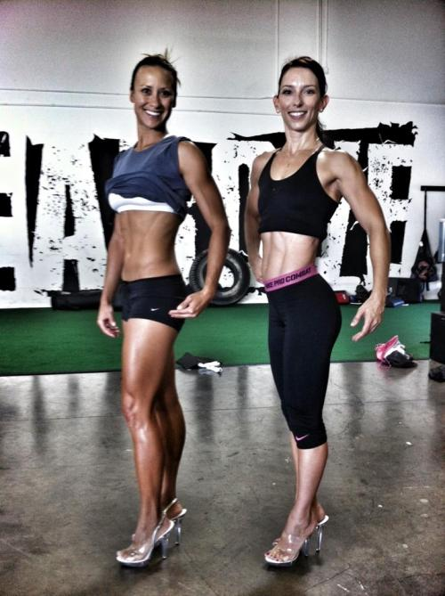 Some bad ass females. Stacy and Courtney practicing for their figure competitions on October 20th. Go Rise Above competition team!