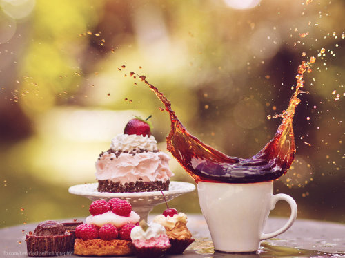 clottedcreamscone:  cake and coffee II by ~violetkitty92