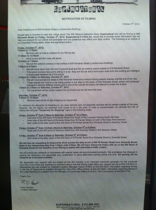 This was the notice that went up in my building telling us about Supernatural filming in the area.