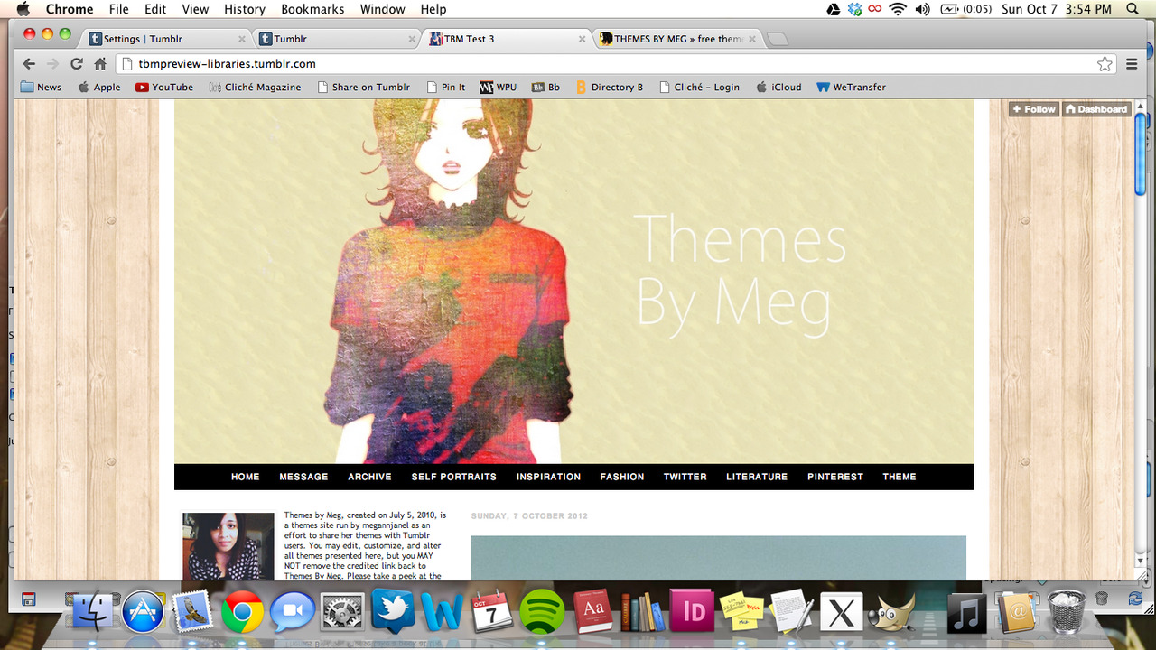 The Libraries theme is for fashion bloggers, artists, or photographers who want to showcase their high resolution photographs! There is also a huge bar on top for custom links and there's a place to insert your Instagram photostream on the sidebar! This theme contains the following: Easy upload banner and background images Disqus commenting integration 650px width content 350px width sidebar Easy upload profile photo 1 sidebar Blogroll hidden or enabled option Easy top link customization Font color and text customizable PRICE: $3.49 LIVE PREVIEW BUY THIS THEME