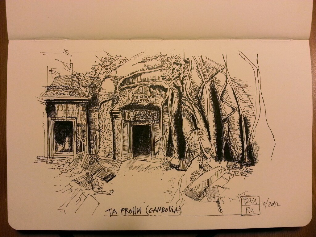 ta prohm temple (angkor, cambodia) - PITT ink pen on moleskine