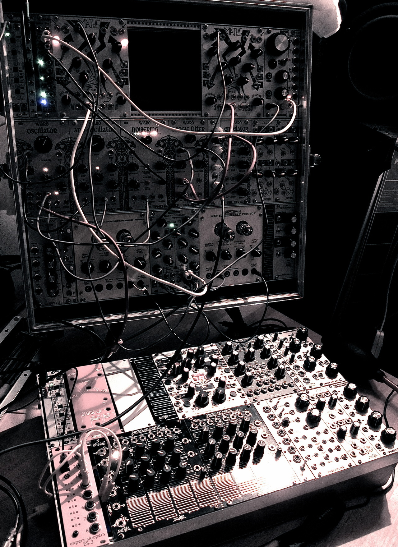 hainbach:  I have re-structered my modular synthesizer to fit better with my workflow. The large whole on top is waiting for sequencer, while the blanks in the lower skiff fill be replaced with a wavetable osc. I have now all the parts for a Turing machine, maybe I will get that done tomorrow.