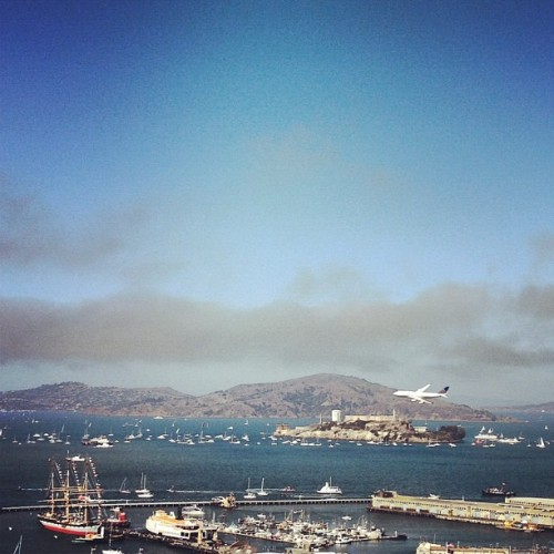 Alcatraz + airliner (Taken with Instagram)