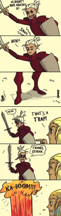 limpstella:  ok so i cant just blame zevran for this, ALL of my rogues do this. also, i forgot all of the battle cries so i just used the first one i could find on google :I http://limpstella.deviantart.com/art/oh-zevran-331238112?q=gallery%3Alimpstella%2F14157150&qo=0