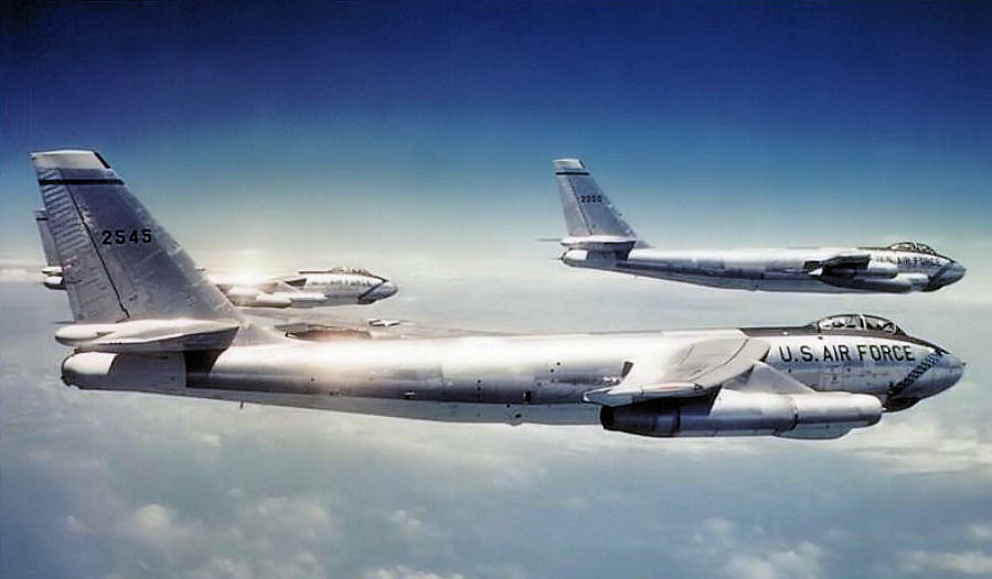 "planeshots:  Formation flight Sunday. ""3 Aircraft formation of B-47Es of the 306th Bombardment Wing. Boeing B-47E-95-BW Stratojet 52-545 identifiable. That aircraft was retired to MASDC on 19 November 1965."""