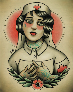 Le Nurse Flash   New Flapper print at Parlor Tattoo Prints! Quyen Dinh