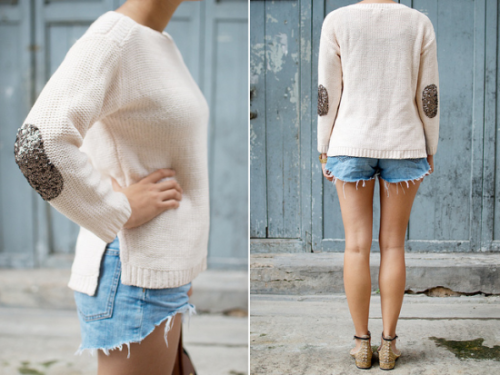 sparkrebel:  diy sequin elbow patch sweater