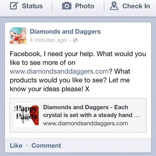 What do you want to see on the @diamondsdaggers website? #diamondsanddaggers #handmade (Taken with Instagram)