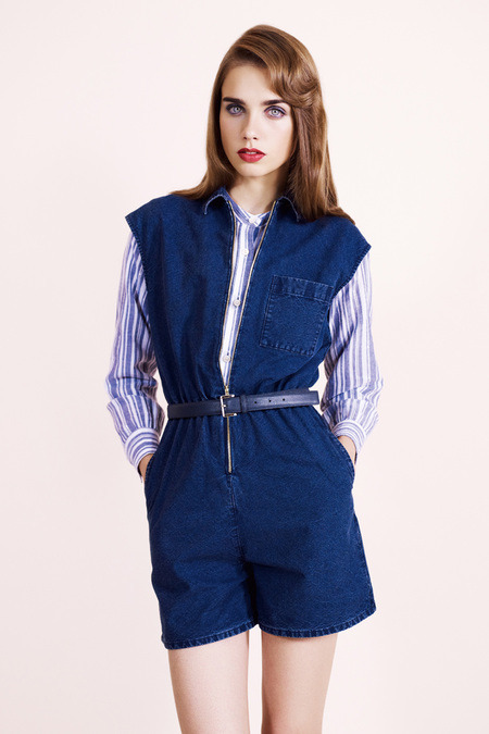 A.P.C Spring 2013 RTW Romper meets Mom Jeans? Cropped boiler suit? Canadian onesie? It's overwhelming, but the only thing I know for certain is how difficult it would be to use the bathroom in this.